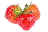 Three strawberries isolated on white — Stock Photo