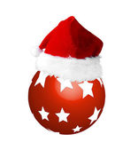Santa hat on a new year red ball — Stock Photo