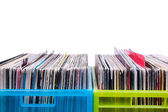 Records in plastic boxes — Stock Photo