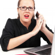 Surprised businesswoman with mobile — Stock Photo