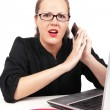 Surprised businesswoman with mobile — Stock Photo #4490030