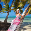 Stock Photo: Womin dress on caribbebeach