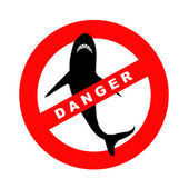 Sign danger sharks — Stock Photo