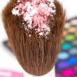 Powder on professional make-up brush — Stock fotografie