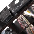 Dj tools on black table, — Stockfoto #4747136