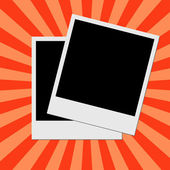Photo frame on red stripes background — ストック写真