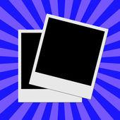 Photo frame on blue stripes background — Stock Photo