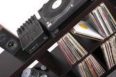 Dj tools on black table, — Stock Photo