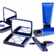 Eyeshadows, mascarand blue tubes — Stockfoto #4753915