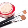 Two make-up brushes and red box with powder - Lizenzfreies Foto
