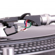 Dj needle on spinning turntable — Stock Photo