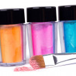 Make-up brush and tubes with colour pigment - Foto de Stock