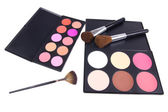 Professional make-up brushes on eyeshadows palettes — Stock Photo