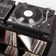 Turntable and Dj mixer on black table — Stock Photo #4772111