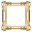 Golden frame isolated on white — Stock Photo