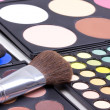 Professional make-up brushes on eyeshadows palettes — Stok fotoğraf