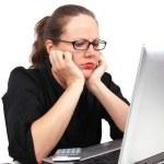 Sad businesswoman holding her head — Stock Photo #4772312