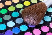 Professionale pennello sulla tavolozza ombretti multicolor — Foto Stock