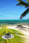 Beach woman hat on caribbean sea — Stock Photo