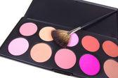 Professional make-up brush and eyeshadows — Stock Photo