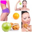 Diet choice collage — Stock Photo