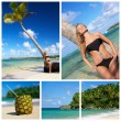 Collage with woman in bikini near palm — ストック写真