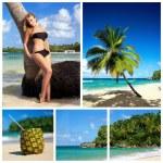 collage con donna in bikini sulla spiaggia — Foto Stock