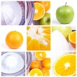 Fruits squeezer collage — Stock Photo