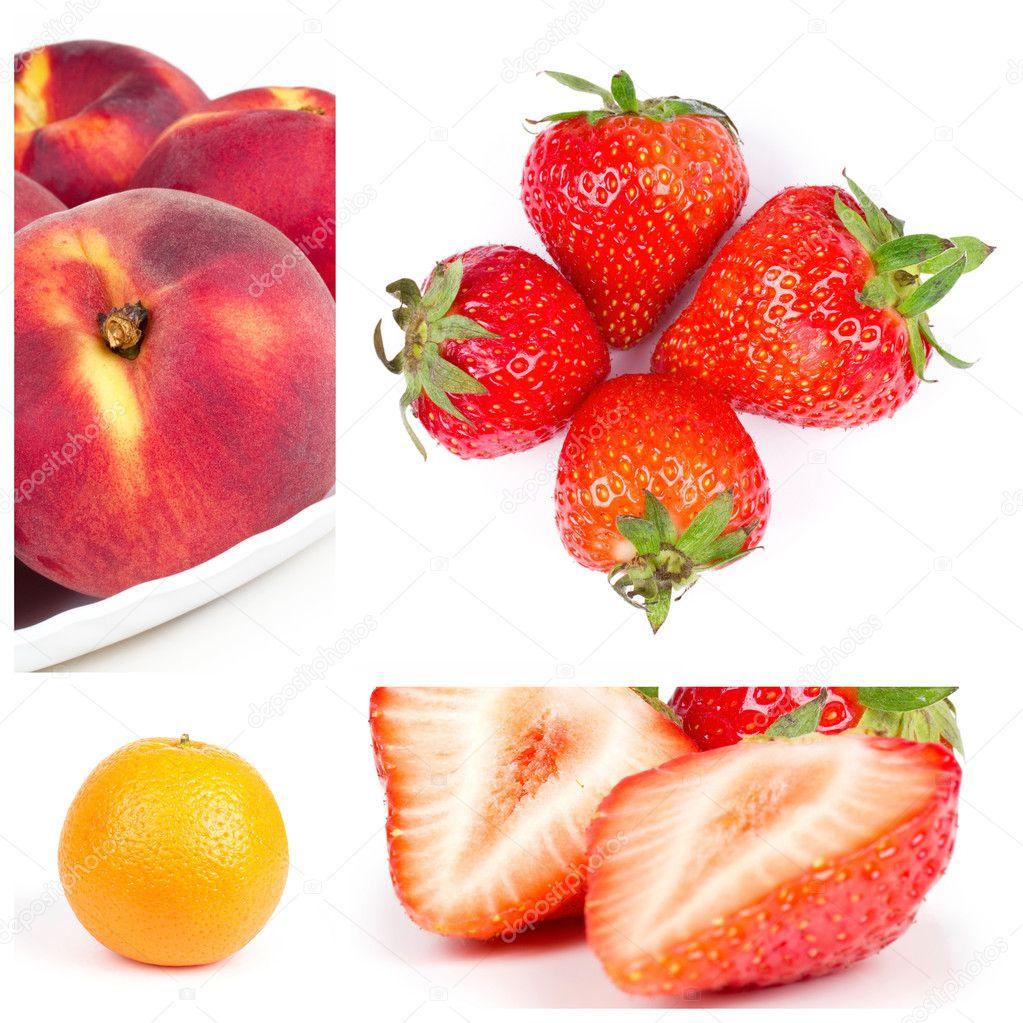 水果拼贴画.草莓, 柑橘, 桃部件– 图库图片