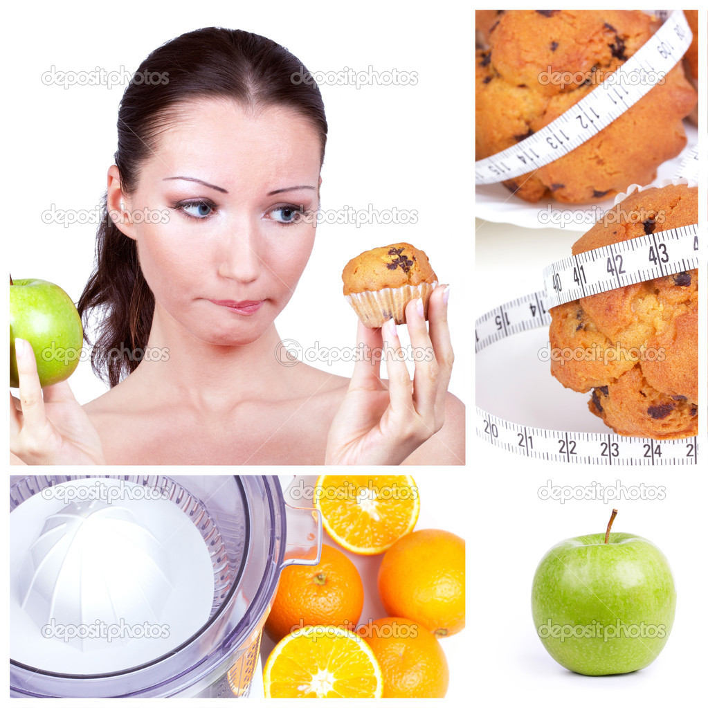 Diet choice collage. Woman in choice — Zdjęcie stockowe #4899574