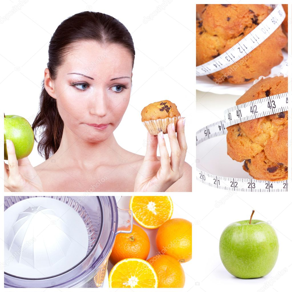 Diet choice collage. Woman in choice — Photo #4899574