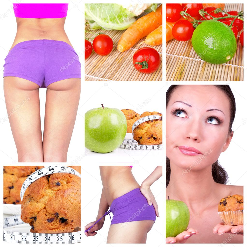 Diet collage. Healthy lifestyle concept — Stock Photo #4899577