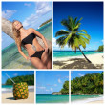 collage con spiaggia — Foto Stock