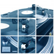 Turntable with dj needle collage - Stock Photo