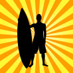 Illustration of surfer on stripes — Stock Photo #4917607