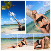 Collage with woman on beach — Stock Photo