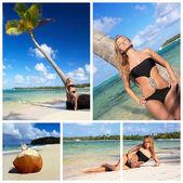 Femme sur collage de plage — Photo