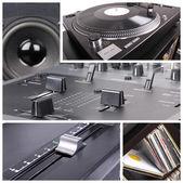 Dj equipment collage — Stock Photo