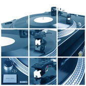 Turntable with dj needle collage — Stock Photo