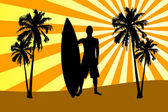 Silhouette of surfer on beach — Stock Photo