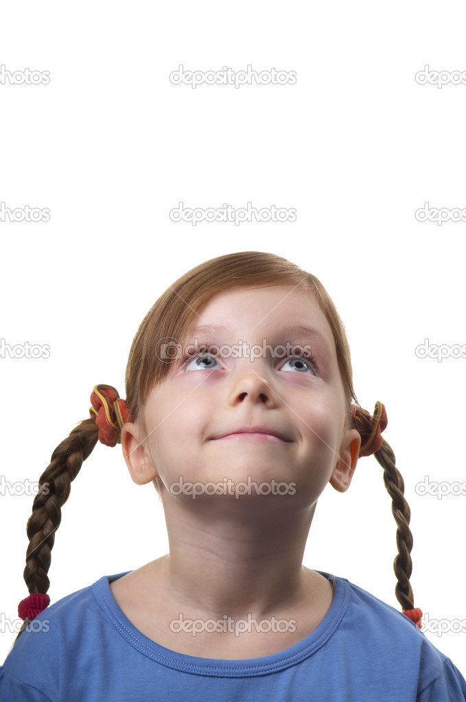 Wondering funny little girl portrait isolated over white background — Stock Photo #4303403