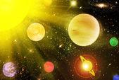 Die planeten in den sternenhimmel — Stockfoto