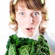 Stock Photo: Womand fresh savoy cabbage