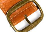 Brązowy pas z brązu klamra — Zdjęcie stockowe