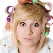 Funny housewife with curlers — Stock Photo