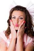 Grimacing funny girl — Stock Photo