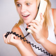 Woman with retro telephone — Stock Photo