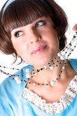 Woman with pearl beads — Stock Photo