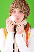 Woman with handkerchief and thermometer — Stock Photo