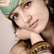 Beautiful young hippie woman - Stock Photo